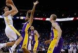 """Karjeros rungtynes sužaidusio K.Thompsono vedama """"Warriors"""" sumindė """"Lakers"""" ekipą"""