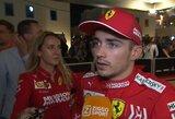 """5 kg daugiau degalų įpylusi """"Ferrari"""" gavo nemažą baudą, bet C.Leclercas neprarado vietos ant podiumo"""