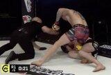 """Už uždarų durų vykusiame """"Cage Warriors 113"""" turnyre Mančesteryje lengvo svorio kategorijos čempionu tapo M.Jonesas, UFC kovotojų akistatoje prireikė trijų raundų"""
