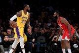 """Vakaras Los Andžele: įspūdingas LeBrono dėjimas, J.Hardeno rekordas ir """"Lakers"""" pergalė"""