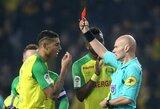 Prancūzijoje futbolininkui įspyręs ir jį iš aikštės išvaręs teisėjas pašalintas pusmečiui