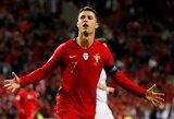 """Tautų lyga: lemiamu metu įvarčius mušęs ir """"hetriką"""" realizavęs C.Ronaldo išvedė Portugalijos rinktinę į finalą"""
