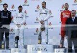 """V.Bottas Baku atlaikė L.Hamiltono spaudimą, pasikeitė čempionato lyderis, """"Ferrari"""" naujokas iš """"Mercedes"""" atėmė papildomą tašką"""