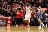 """Įspūdingą seriją tęsiantis J.Hardenas lemiamu metu ištempė """"Rockets"""" į pergalę"""