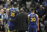 """S.Curry ir K.Durantas išvaryti iš aikštės, """"Warriors"""" pralaimėjo"""