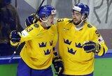 Švedijos ledo ritulininkai svarbiose rungtynėse įveikė čekus, olimpiniai vicečempionai vėl pralaimėjo