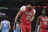 """Fenomenalus A.Daviso pasirodymas ir J.Holiday rekordas pažymėtas pergale prieš """"Clippers"""""""