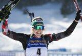 Norvegijos žvaigždyną už nugaros palikusi L.T.Hauser pirmą kartą tapo pasaulio biatlono čempione