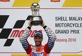 Šlapiose Malaizijos GP lenktynėse – pirma italo pergalė per septynerius metus ir M.Marquezo nesėkmė