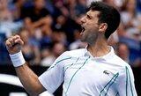 """""""Australian Open"""" turnyre – dominuojantis N.Djokovičius, S.Tsitsipo pergalė be kovos ir 8-osios pasaulio raketės pasitraukimas"""