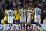 Brazilija nesugebėjo įveikti be savo puolimo lyderių žaidusios Argentinos
