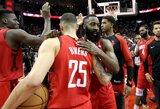 """Įspūdingą seriją tęsiantis J.Hardenas atvedė """"Rockets"""" į pergalę"""