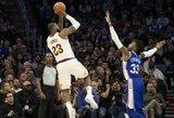 """L.Jameso ir J.Embiido dvikovoje – nesunki """"Cavaliers"""" pergalė"""