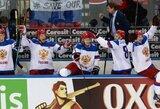 Nenugalimieji Rusijos ledo ritulininkai pasaulio čempionate nukarūnavo švedus ir pateko į finalą