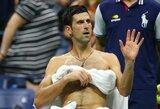 """N.Djokovičius užtikrintai žengė į """"US Open"""" pusfinalį, K.Nishikori po 4 valandų kovos palaužė M.Čiličių"""