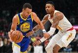 """""""Hawks"""" ekipą pirmajame kėlinyje pranokęs S.Curry padėjo nutraukė nemalonią """"Warriors"""" seriją"""
