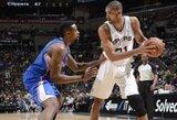 """T.Duncano dvitaškis su pražanga lėmė """"Spurs"""" pergalę prieš """"Clippers"""""""