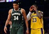 NBA lyderių susidūrime – L.Jameso ir G.Antetokounmpo dominavimas