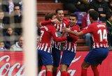 """Sau į vartus mušę, bet pergalę iškovoję """"Atletico"""" taškais susilygino su Ispanijos lyderiais"""