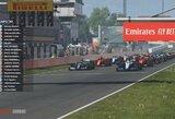 """G.Russellas išplėšė dramatišką pergalę virtualiose """"Formulės 1"""" lenktynėse, greičiausi tarp legendų – J.Buttonas ir P.Solbergas"""