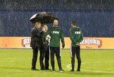 Rungtynės Kroatijoje dėl lietaus nutrauktos vos po 25 minučių