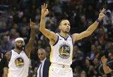 """Prabudęs S.Curry lemiamame kėlinyje ištempė """"Warriors"""" į sunkią pergalę"""