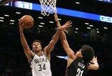 """""""Bucks"""" įveikė 37 tritaškius prametusią """"Nets"""""""