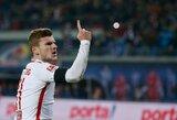 """""""RB Leipzig"""" nutraukė """"Schalke"""" klubo nepralaimėtų rungtynių seriją ir sugrįžo į pirmą vietą"""
