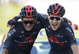 """Neįprastas vaizdas """"Tour de France"""" etapo finiše – lyderiai liniją kirto apsikabinę"""