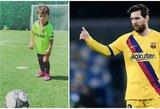 Pamatykite: mažylis Messi žengia tėčio pėdomis