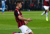 """Italijos taurės ketvirtfinalis: K.Piateko dublis ir """"AC Milan"""" pergalė prieš """"Napoli"""""""