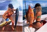 Sportinės žūklės gražuolė atskleidė, kodėl įspūdingo dydžio žuvis gaudo pusnuogė
