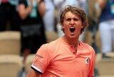 """Dar vieną 5 setų mūšį laimėjęs A.Zverevas – """"Roland Garros"""" ketvirtfinalyje"""
