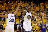 """Trigubų dublių ir rekordų pažymėtame mače – dar viena triuškinanti """"Warriors"""" pergalė"""