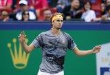 N.Djokovičius neturėjo vargo ir su Kanados teniso talentu, A.Zverevo raketė nuskriejo į tribūnas