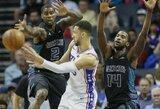 """B.Simmonsas vos nesurinko trigubo dublio, """"76ers"""" nesunkiai laimėjo Šarlotėje"""