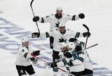 """NHL atkrintamųjų grožis: vėliausias istorijoje pelnytas įvartis mažumoje, """"Sharks"""" vartininko rekordas ir įspūdinga pergalė, išplėšusi septintąsias serijos rungtynes"""