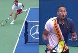 """Magišku smūgiu N.Kyrgiosą išsižioti privertęs R.Federeris eliminavo skandalingą australą iš """"US Open"""" turnyro"""