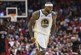 """""""Warriors"""" pirmą kartą įveikė """"Rockets"""" ir nutraukė varžovų devynių pergalių seriją"""
