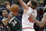 """G.Antetokounmpo puikiu žaidimu grįžo į rikiuotę, bet pergale džiaugėsi """"Bulls"""""""