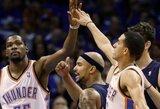 """Fantastiškas rungtynes sužaidęs K.Durantas išgelbėjo """"Thunder"""" klubą Vakarų konferencijos pusfinalio starte"""