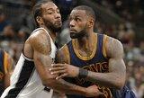 """""""Lakers"""" bando atnaujinti derybas dėl K.Leonardo ir su juo tikisi privilioti L.Jamesą"""