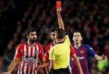 """D.Costos išvarymu iš aikštės nepatenkintas D.Simeone: """"Per paskutines 11 rungtynių """"Camp Nou"""" stadione, užsidirbome 7 raudonas korteles"""""""