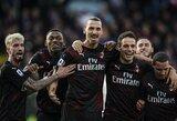 """Z.Ibrahimovičiaus įvartis padėjo """"AC Milan"""" nutraukti mėnesį trukusį pergalių badą """"Serie A"""" pirmenybėse"""
