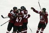 Svajonių startas: Latvijos ledo ritulininkai pasaulio čempionate parklupdė suomius