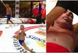 """Veteranų šou MMA narve: 44-erių ukrainietis per 14 sekundžių vienu smūgiu """"išjungė"""" rusą"""