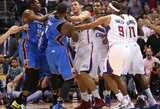 """Rungtynės Los Andžele baigėsi """"Clippers"""" pergale ir susistumdymu su dviem pašalintais žaidėjais"""