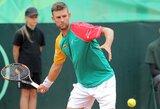 Visą dieną korte praleidęs L.Grigelis iškovojo pirmąją pergalę Lietuvos vyrų teniso rinktinei