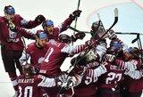 9 metus laukta pergalė: latviai eliminavo pasaulio ledo ritulio čempionato šeimininkus