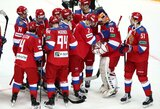 Rusijos ledo ritulio rinktinė po ilgos baudinių serijos išplėšė pergalę prieš suomius